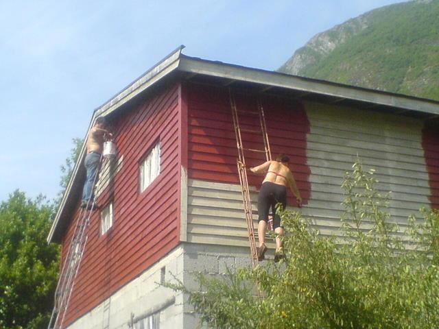 Kristin og Hjalmar i kvar sin stige ...